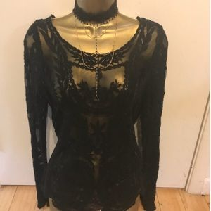 Express Victorian Lace Long Sleeve Shirt Blouse